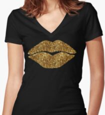 24 Karat Kiss lips, gold lipstick Women's Fitted V-Neck T-Shirt