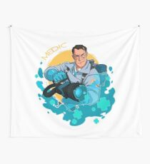 Medic  TF2 - Blue Wall Tapestry