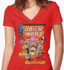 Alien Wars Women's Fitted V-Neck T-Shirt