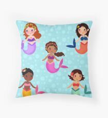 Bubbly Mermaids Throw Pillow