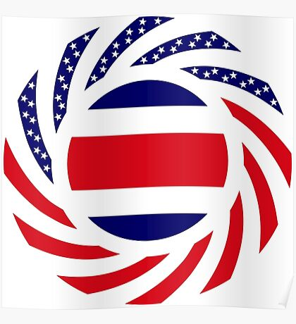Costa Rican American Multinational Patriot Flag Series Poster