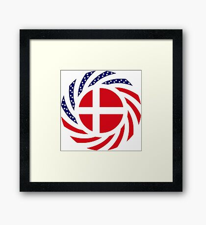 Danish American Multinational Patriot Flag Series Framed Print