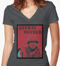 Full metal jacket- Animal Mother Women's Fitted V-Neck T-Shirt