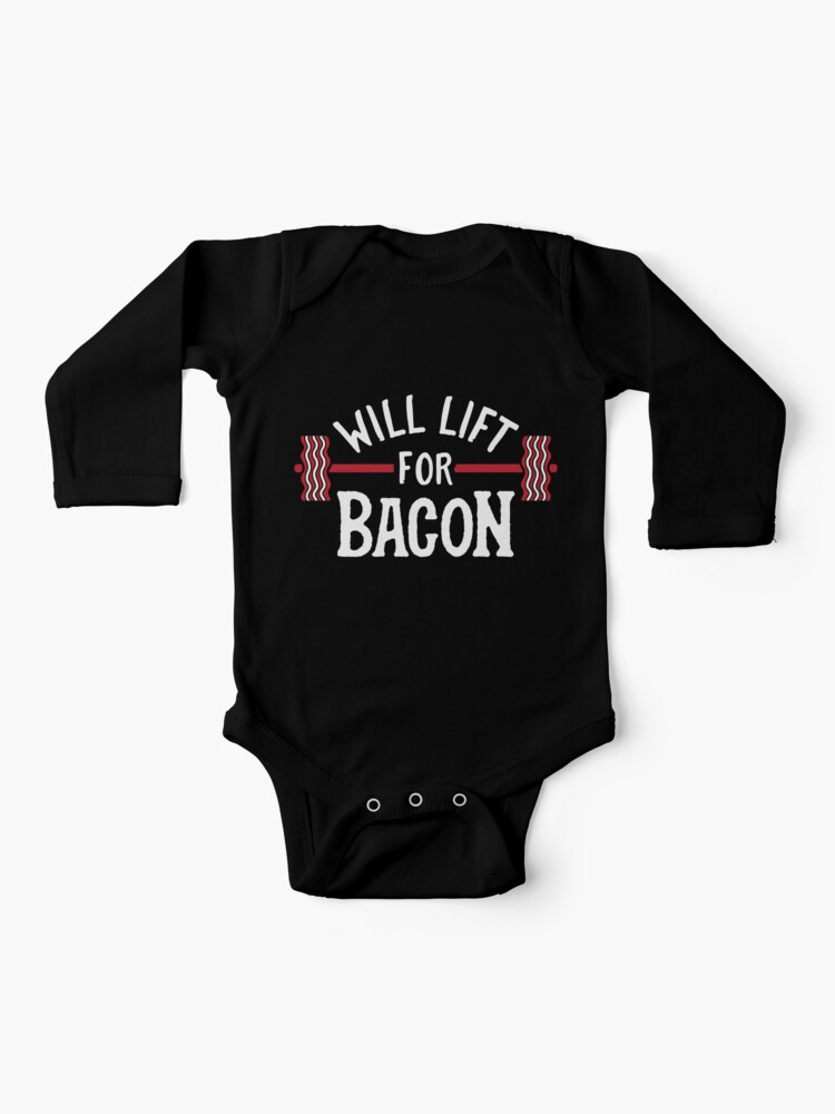 Baby Romper Will Lift for Bacon 100/% Cotton Long Sleeve Infant Bodysuit