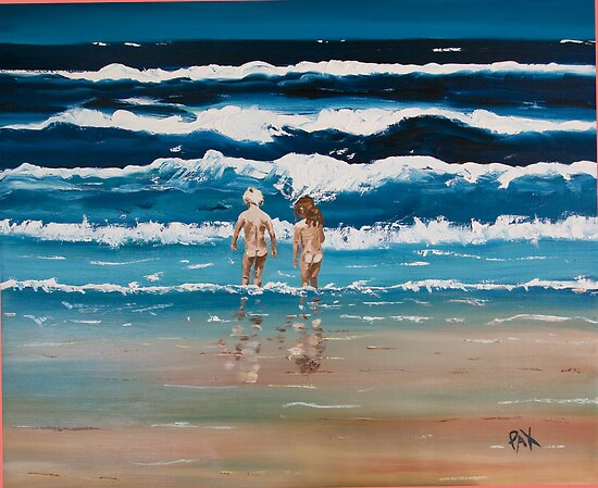 Art Beach Bums  Oil Painting by caroline ellis