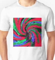 psychedelic graffiti splash painting abstract in red green blue Unisex T-Shirt
