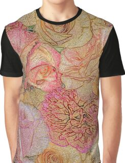 A Field Of Roses - Colored Pencil & Golden Highlights Graphic T-Shirt