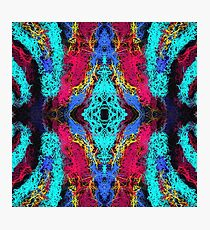 psychedelic graffiti geometric drawing abstract in blue pink yellow brown Photographic Print
