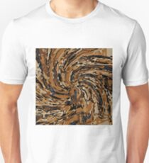 psychedelic graffiti drawing abstract in brown and blue T-Shirt