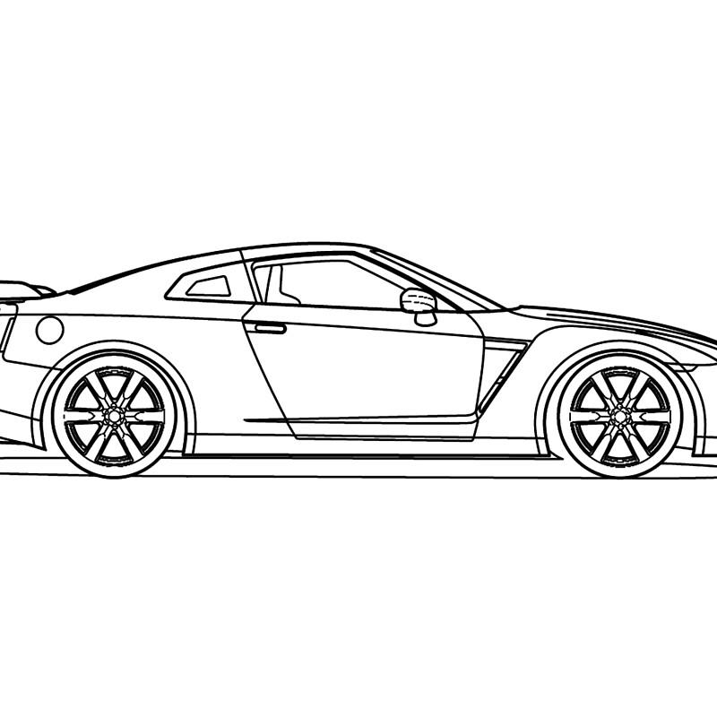 Nissan R35 GTR - Side Blueprint\