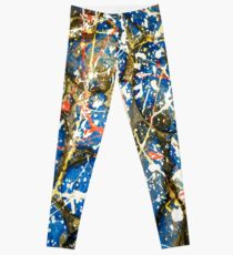 Blue Paint Drip Stones Leggings