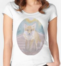 Fox on rail track Women's Fitted Scoop T-Shirt