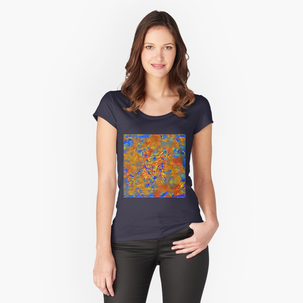 Another Ninja cat hiding #Art Fitted Scoop T-Shirt