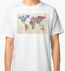 Typography Text Map of the World Map Classic T-Shirt