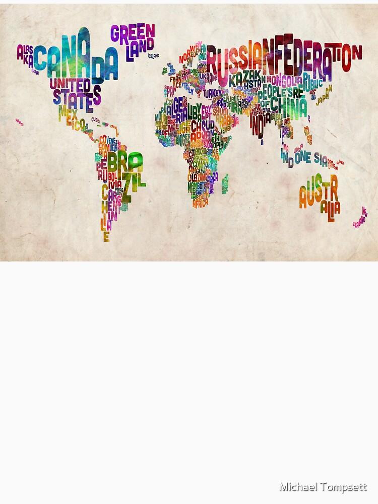 Typografie Text Karte der Weltkarte von ArtPrints
