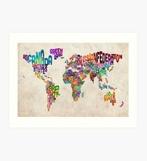 Typography Text Map of the World Map Art Print