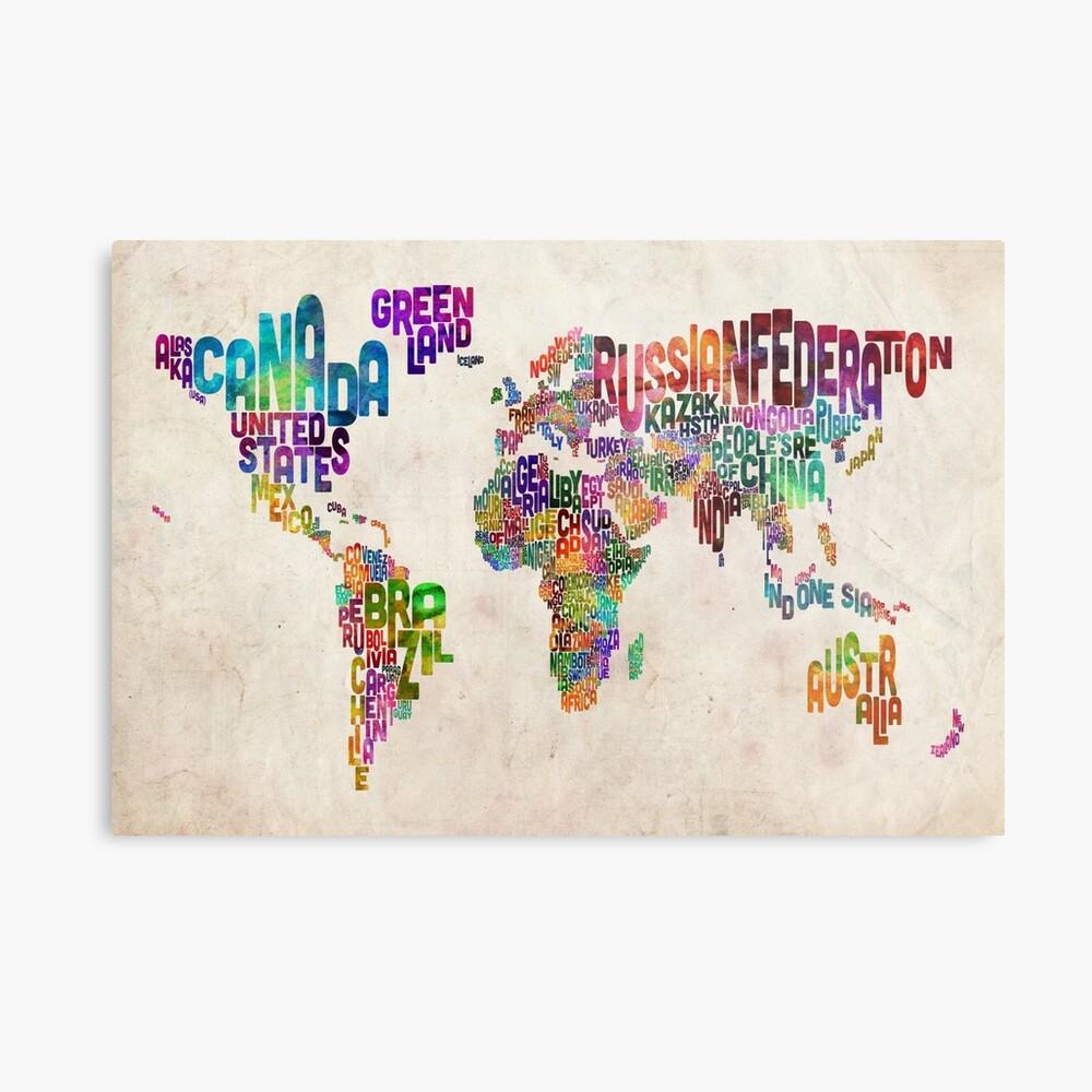 Typografie Text Karte der Weltkarte Metallbild