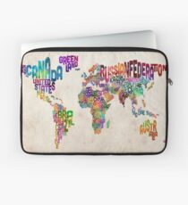 Typography Text Map of the World Map Laptop Sleeve