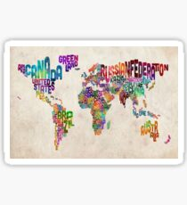 Typography Text Map of the World Map Sticker