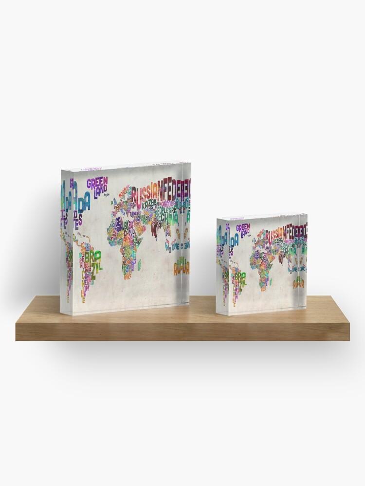 Alternative Ansicht von Typografie Text Karte der Weltkarte Acrylblock