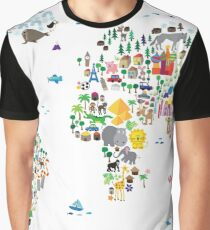Animal Map of the World for children and kids Graphic T-Shirt