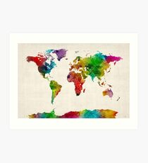 Watercolor Map of the World Map Art Print