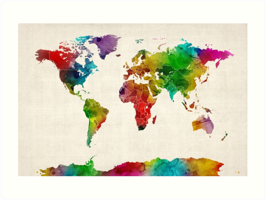 Watercolor map of the world map art prints by michael tompsett watercolor map of the world map by michael tompsett gumiabroncs Images
