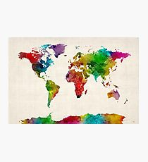Watercolor Map of the World Map Photographic Print
