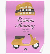 Roman Holiday, Audrey Hepburn, Gregory Peck, William Wyler, movie poster, classic film, old, cinema Poster