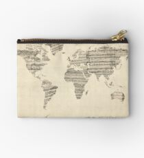 Map of the World Map from Old Sheet Music Studio Pouch