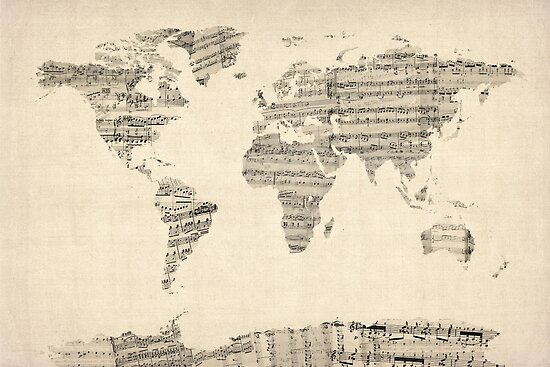 Map of the world map from old sheet music posters by michael map of the world map from old sheet music by michael tompsett gumiabroncs Gallery