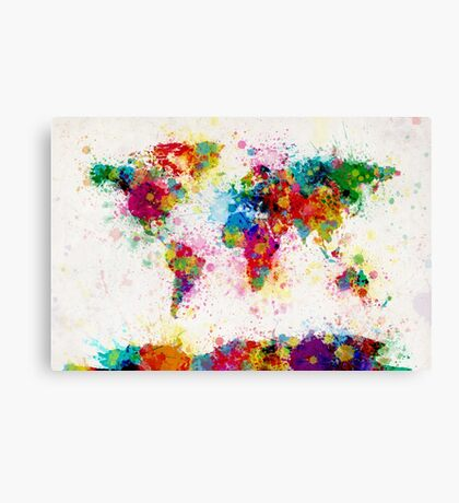 World Map Paint Splashes Canvas Print