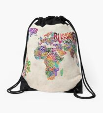 Typography Text Map of the World Map Drawstring Bag