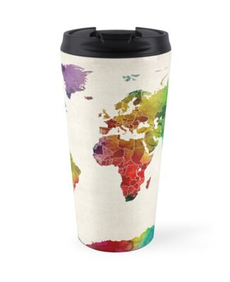 Watercolor map of the world map travel mugs by michael tompsett watercolor map of the world map by michael tompsett gumiabroncs Choice Image