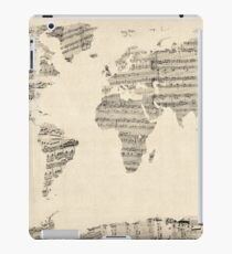 Map of the World Map from Old Sheet Music iPad Case/Skin
