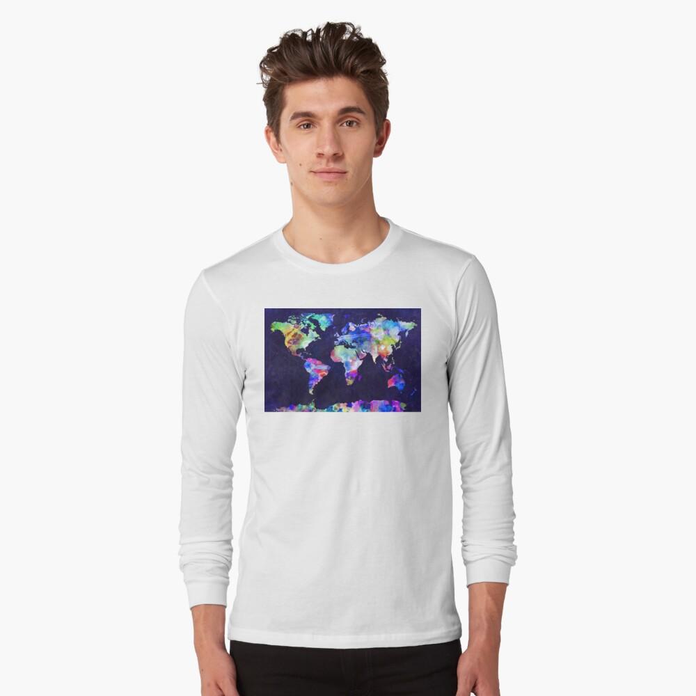 World Map Urban Watercolor Long Sleeve T-Shirt