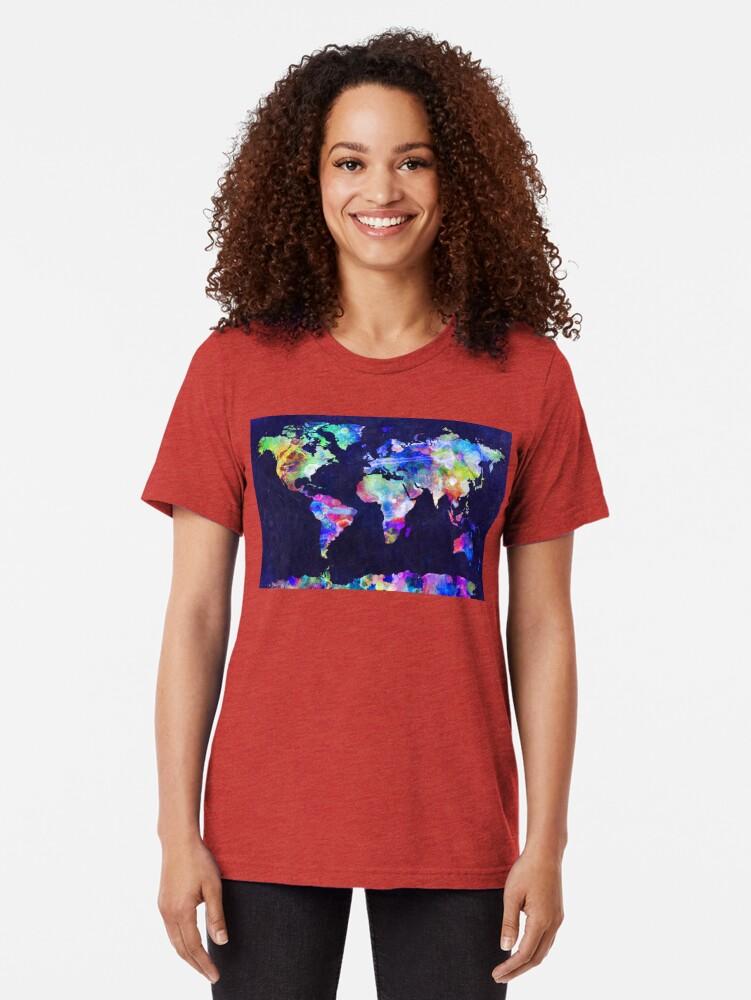 Alternate view of World Map Urban Watercolor Tri-blend T-Shirt