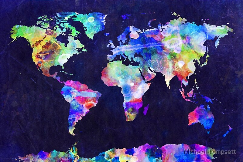 World map urban watercolor photographic prints by michael world map urban watercolor by michael tompsett gumiabroncs Images