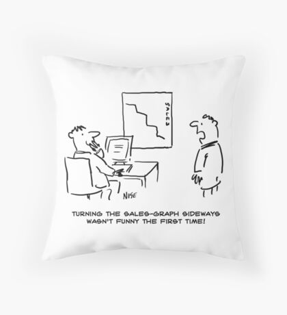 Salesman Turns The Sales Chart Sideways Throw Pillow