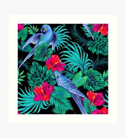 blue macaw parrots.  Art Print