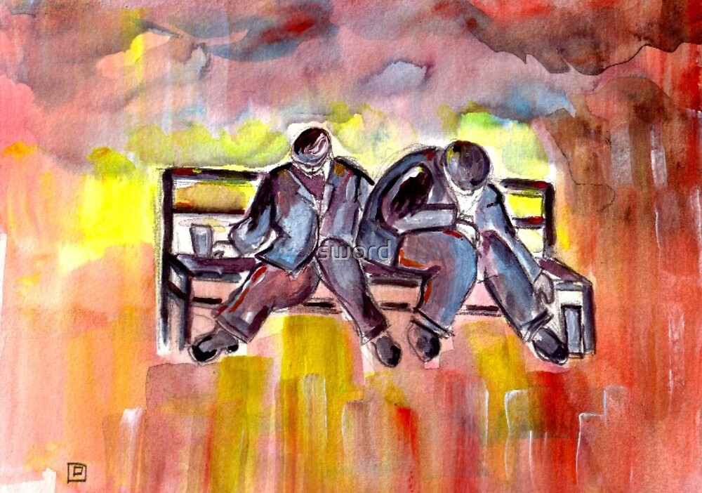 Two drunks on a bench (from my original acrylic painting) by sword