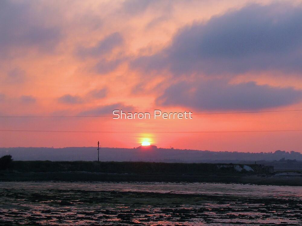Sunset over Hayling Island by Sharon Perrett