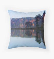 Silence in the autumn lake Throw Pillow