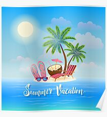 Summer Beach Vacation Banner. Exotic Tropical Island with Palm Trees, Sunglasses and Cocktail Poster