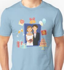 Wedding Design Set of Elements with Just Married, Cake, Rings and Gifts Unisex T-Shirt