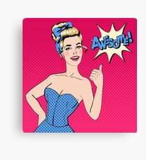 Pop Art Style Woman Gesturing Great with Expression Awesome Canvas Print