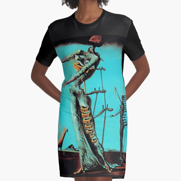 Salvador Dali Burning Giraffe Surreal Famous Painters Graphic T-Shirt Dress
