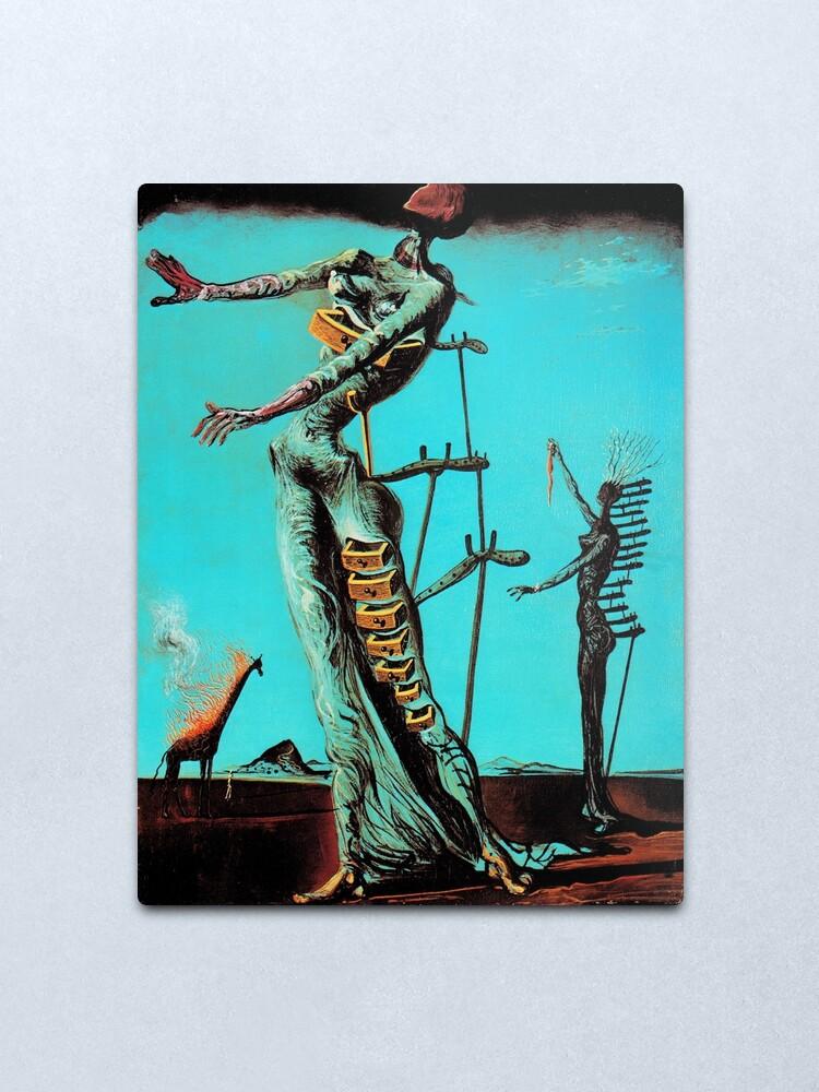 Alternate view of Salvador Dali Burning Giraffe Surreal Famous Painters Metal Print
