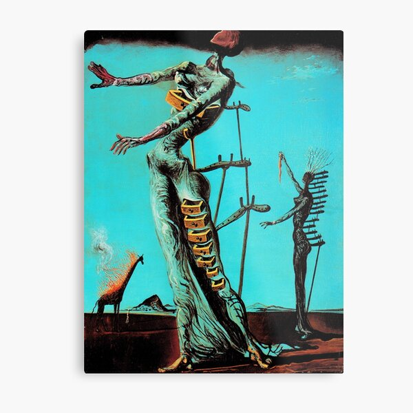 Salvador Dali Burning Giraffe Surreal Famous Painters Metal Print