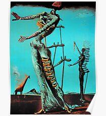 Salvador Dali Burning Giraffe Surreal Famous Painters Poster